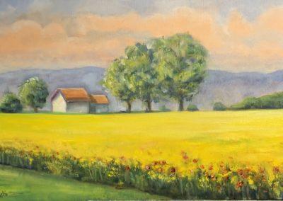 Ce tableau à l'huile présente une vue de Founex et un champ de colza avec des coquelicots . On perçoit le Jura dans l'arrière plan.