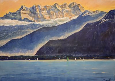 """Ce tableau fait partie de la série des grands formats """"Freedom"""", de 140 x 180 cm sur toile libre, peinture acrylique. Il représente les Dents du Midi."""